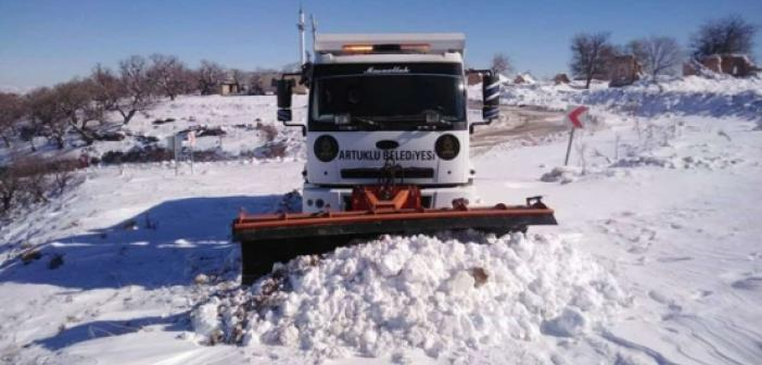 Artuklu kırsalında karla mücadele çalışmaları