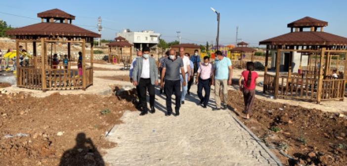 Başkan Aksoy, yapımı devam eden çok amaçlı park çalışmalarını inceledi