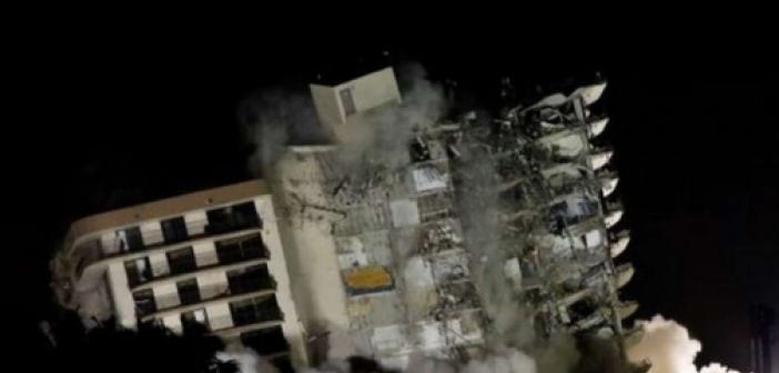 Miami'deki bina çöküşü: Kalan yapı kontrollü yıkımla yıkıldı